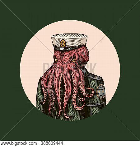 Octopus Sailor. Sea Captain. Fashion Animal Character. Nautical Seaman Or Nautical Mariner. Hand Dra