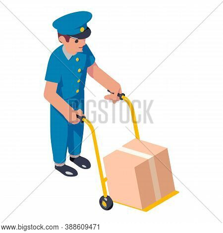 Cart Delivery Parcel Icon. Isometric Of Cart Delivery Parcel Vector Icon For Web Design Isolated On