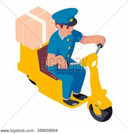 Postman Scooter Box Delivery Icon. Isometric Of Postman Scooter Box Delivery Vector Icon For Web Des