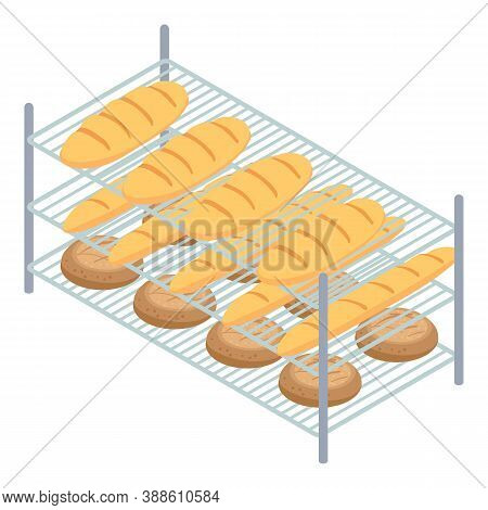 Bakery Factory Bread Rack Icon. Isometric Of Bakery Factory Bread Rack Vector Icon For Web Design Is