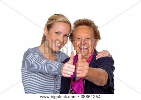 a grandchild visiting his grandmother. laughter and joy. thumbs up