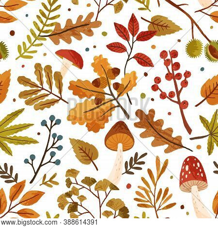 Seamless Pattern With Autumn Leaves And Tree Branches. Repeatable Background With Fall Mushrooms, Ch