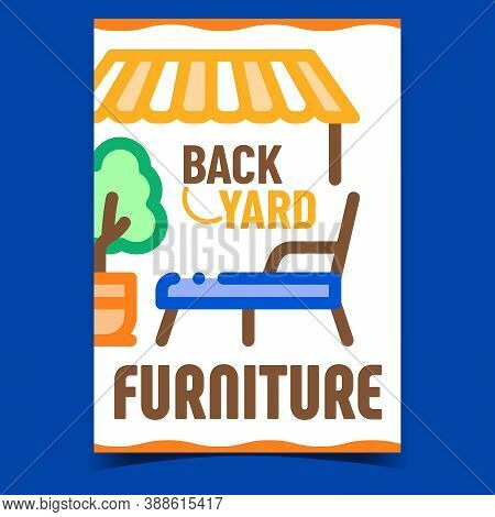Backyard Furniture Creative Promo Banner Vector. Decorative Tree Plant And Lawn Chair, Lounge Patio