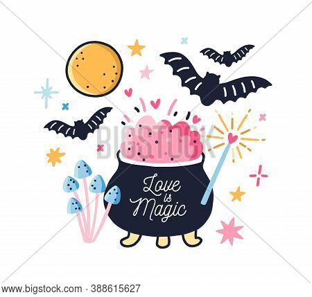 Fairy Pot With Boiled Love Potion Decorated By Doodle Design Elements Vector Flat Illustration. Colo