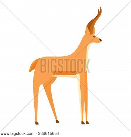 Exotic Gazelle Icon. Cartoon Of Exotic Gazelle Vector Icon For Web Design Isolated On White Backgrou