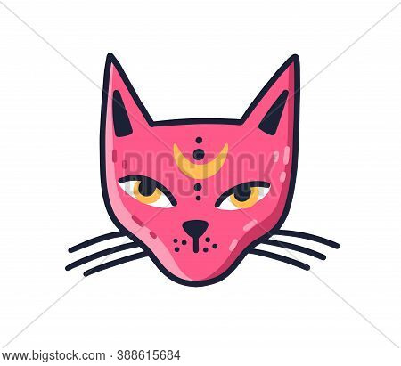 Doodle Muzzle Of Magic Pink Cat With Moon On Forehead Vector Flat Illustration. Avatar Of Mystic Fel