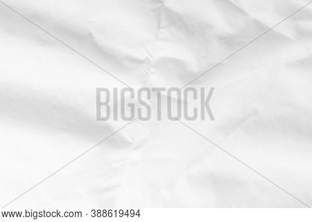 Wrinkled White Paper Texture. Abstract Crumpled Old Grunge Background