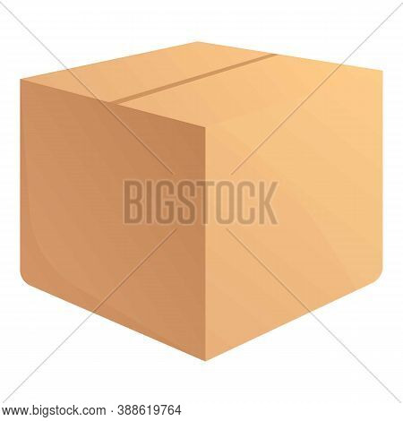 Full Parcel Box Icon. Cartoon Of Full Parcel Box Vector Icon For Web Design Isolated On White Backgr