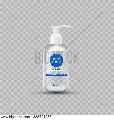 Alcohol Hand Gel Sanitizer. Antibacterial Gel Bottle. Realistic Tarnsparent 3d Icon. Vector