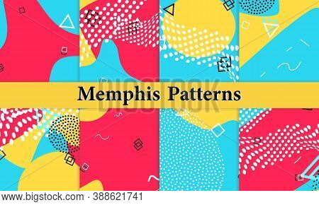 Set Of Memphis Pattern. Fun Background. Red, Blue, Yellow Colors. Memphis Style Patterns. Vector Ill