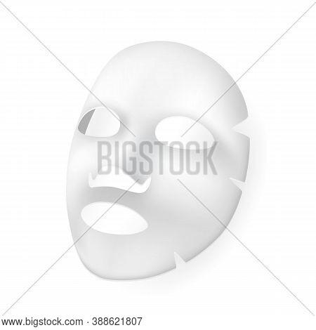 Skincare Hydration Moisturizer Face Mask Vector. Moisture Wet Paper Facial Mask Sheet Collagen Vitam