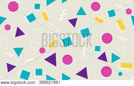 Memphis Seamless Pattern. Fun Background. Vector Illustration. Geometric Seamless Pattern. Abstract