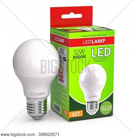 Led lamp with package box isolated on white. Energy efficient light bulb. QR and bar codes do not contain any information.3d illustration