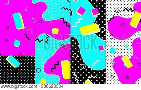 Set Of Memphis Pattern. Fun Background. Pink, Blue, Yellow Colors. Memphis Style Patterns. Vector Il