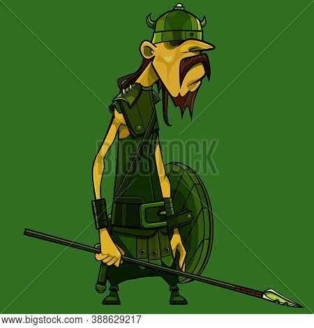 Cartoon Gloomy Viking Warrior In Horned Helmet With A Wooden Shield And A Spear In His Hand