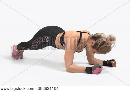 White Background Studio, Muscular Woman, Plank, Abs And Back