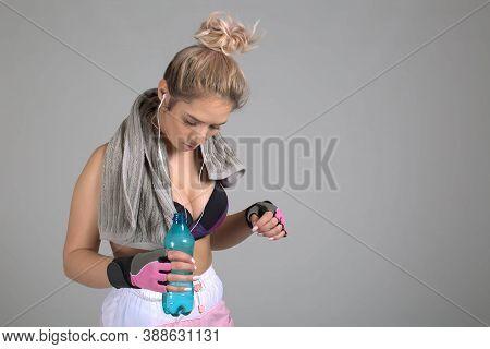 White Background Studio, Muscular Woman, Kettlebell, Grey Towel