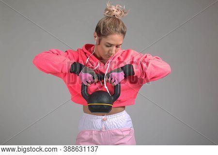 White Background Studio, Muscular Woman, Kettlebell, Pink Hoodie