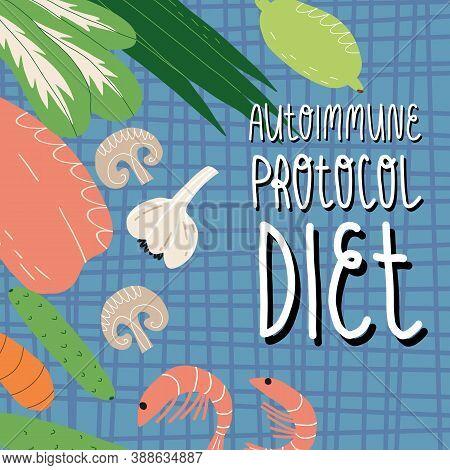Autoimmune Protocol Diet Banner. Tartan Tablecloth, Chicken Breast Fillet, Shrimps, Vegetables And G