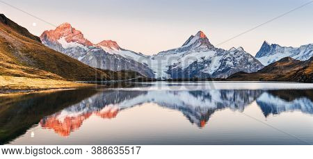 Wide panorama of Bachalpsee lake in Swiss Alps mountains. Snowy peaks of Wetterhorn, Mittelhorn and Rosenhorn on background. Grindelwald valley, Switzerland. Landscape photography