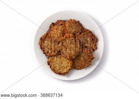 Traditional Jewish Latkes Or Potato Pancakes Isolated On White Background.top View