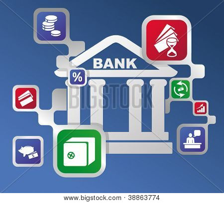 Banking structure. Conceptual graphic image of Bank