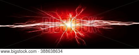 Pure energy and electricity with red bolts power background