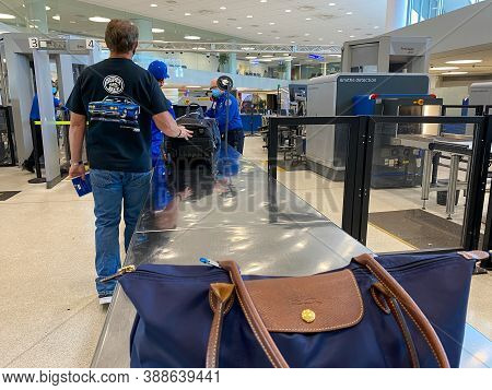 St. Louis, Mo/usa - 10/4/20:  People Waiting In Line At Tsa Security At St. Louis, Mo Lambert Intern