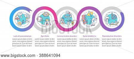 Gadget Addiction Health Problems Vector Infographic Template. Eyestrain, Backache Presentation Desig