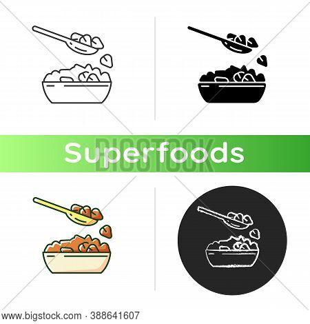 Buckwheat Icon. Vegetarian Healthy Grain Meals. Vegan Eating Plan. Bowl Full Of Eco Ingredients. Din