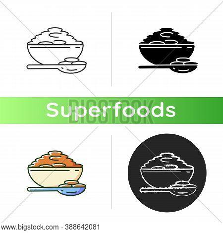 Lentils Icon. Natural Porrige Meals. Healthy Vegetarian Foods Ideas. Bowl Full Of Eco Grains. Superf