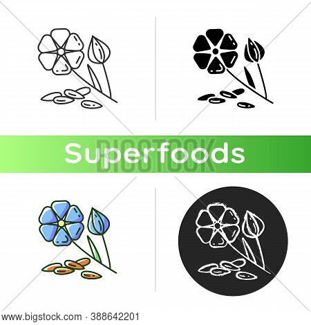 Flaxseed Icon. Healthy Eating Plan. Nutrition Eco Food. Vegan Dieting. Organic Flower With Seeds. Su