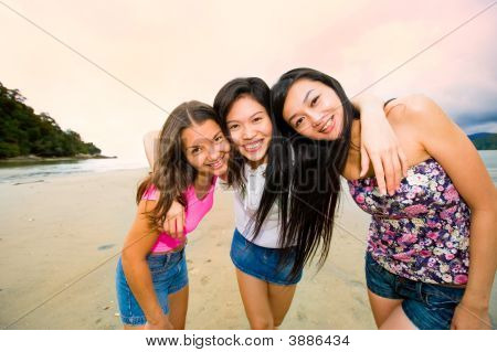 Happy Asian Woman Friends