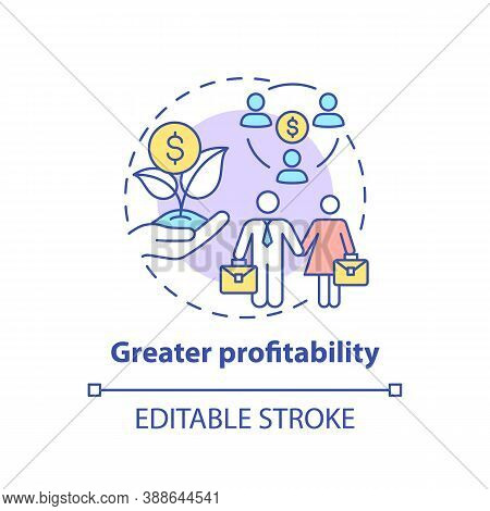 Greater Profitability Concept Icon. Gender Diversity Policy Benefits. Better Business Profits Idea T