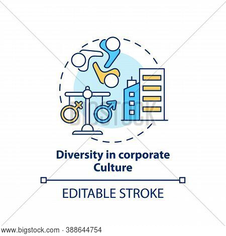 Diversity In Corporate Culture Concept Icon. Gender Diversity Implementation Tips. Equality In Compa
