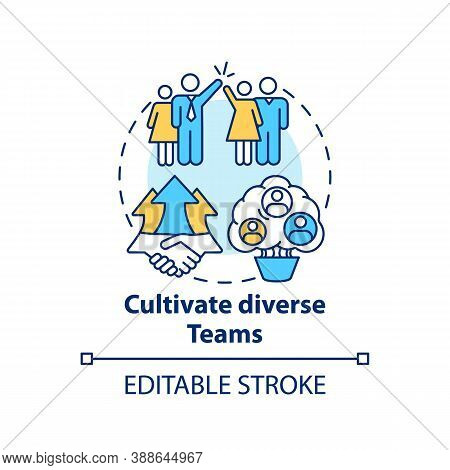 Cultivate Diverse Teams Concept Icon. Gender Diversity Implementation Tips. Working Crew Upgrading I