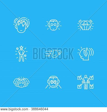 Vector Illustration Of 9 Emotions Icons Line Style. Editable Set Of Self-confidence, Think Green, Im