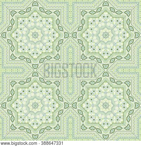 Linear Portugese Azulejo Tile Seamless Ornament. Ethnic Structure Vector Patchwork. Velum Print Desi