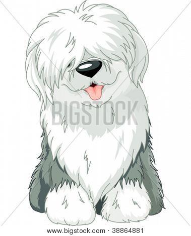 Illustration of sitting funny Old English Sheepdog