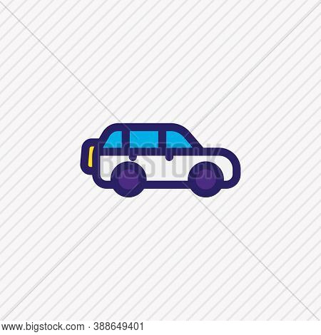 Vector Illustration Of Suv Icon Colored Line. Beautiful Vehicle Element Also Can Be Used As Jeep Ico