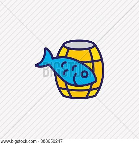 Vector Illustration Of Barrel Of Fish Icon Colored Line. Beautiful Maritime Element Also Can Be Used