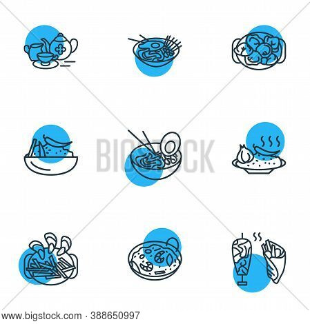 Vector Illustration Of 9 Culinary Icons Line Style. Editable Set Of Uzbek Plov, Spanish Paella, Turk