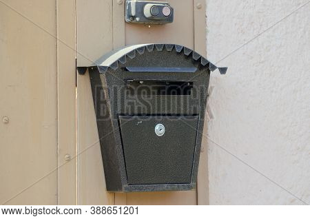 Decorative Mailbox On The Facade Of The House, Mailbox, Metal