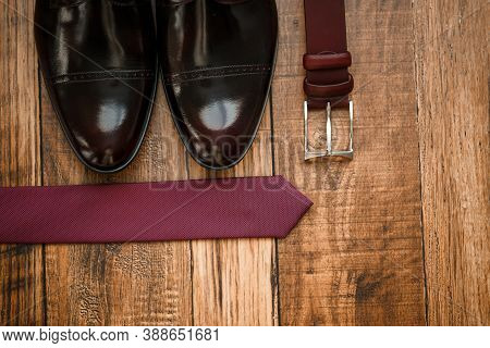 Mens Elegant Set Of Stylish Groom Accessories For Wedding Day. Mens Classic Shoes