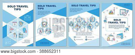 Solo Travel Tips Brochure Template. Planning Journey. Flyer, Booklet, Leaflet Print, Cover Design Wi