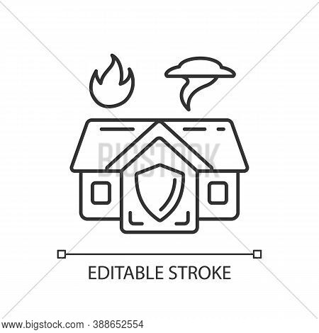 Emergency Shelter Linear Icon. Temporary Residence. Natural Disasters. Domestic Violence. Thin Line