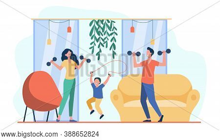 Happy Family Training Together Flat Vector Illustration. Cartoon Active People Doing Strength Exerci
