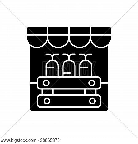 Farmers Market Black Glyph Icon. Grocery Shopping, Local Marketplace. Street Bazaar, Small Business