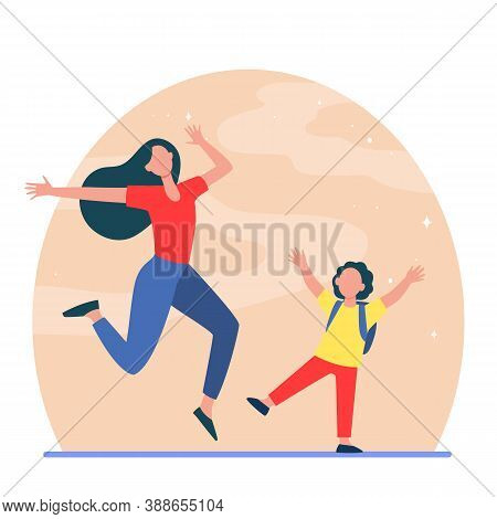 Excited Mom And Son Having Fun. Woman And Boy Jumping And Dancing Flat Vector Illustration. Motherho
