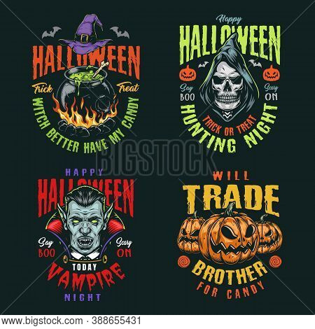 Halloween Night Vintage Colorful Badges With Witch Hat And Cauldron Of Magic Potion Grim Reaper And